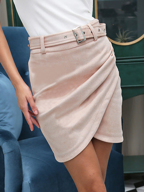 Asymmetric Suede High Waist Leather Short Skirt for Women