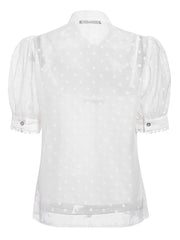 Women's Sweet Bow Tie Transparent Dot Puff Sleeves Spring Summer Blouse
