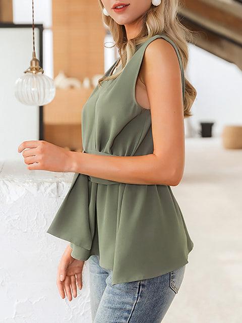 Elegant Casual Solid Sleeveless Office Lady Tank Top for Women