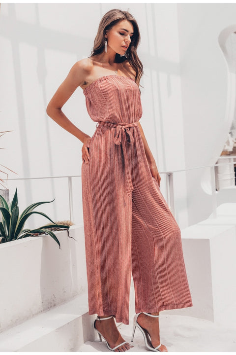 Floor Length Strapless Sexy Sashes Jumpsuit for Women
