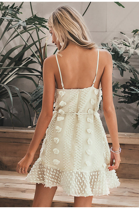 Sexy Spaghetti Strap Flower Embroidery Short Summer Beach Dress