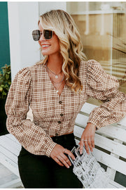 Sexy Vintage Plaid Backless Lace-Up Shirt for Women