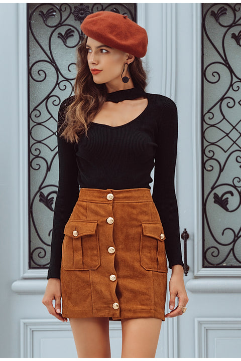 Suede Single Breasted High Waist Fall Winter Mini Skirt For Women