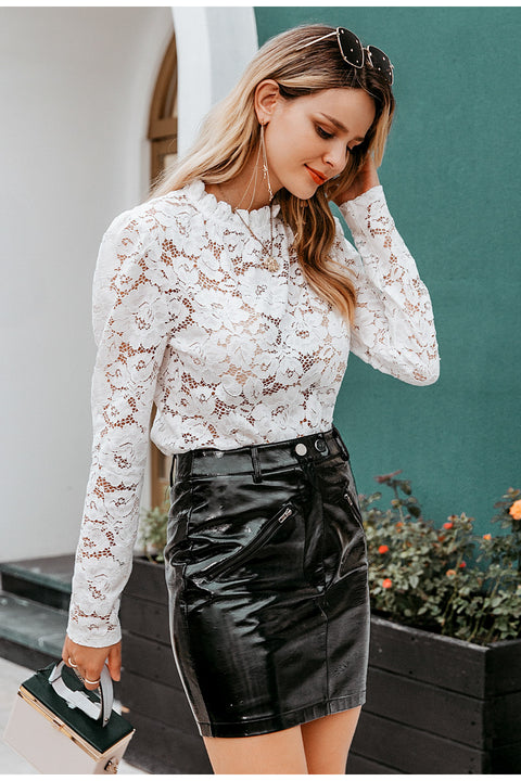 Women'S Sexy See-Through White Lace Office Lady Blouse