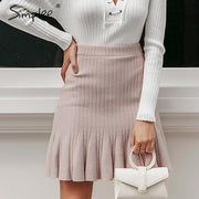 Sweet Ruffle Autumn Winter High Waist Knitted A-Line Short Skirt For Women