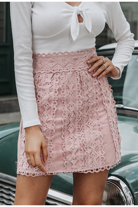 Casual A-Line Lace Embroidery Streetwear Mini Skirt For Women