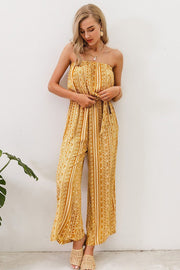 Women's Strapless Print Jumpsuit Romper Sashes Lace Up Jumpsuits