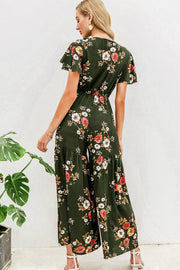 Deep V Neck Floral Print Women Ruffle High Waist Jumpsuit Romper