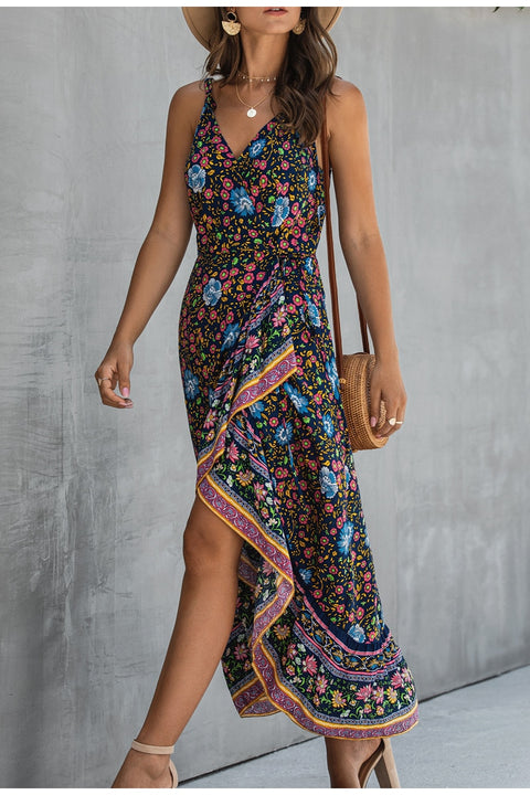 Ruffle Sleeveless Floral Print Wrap Strap Summer Dresses for Holiday