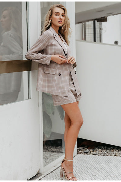 Double Breasted Plaid Two-Piece Blazer Suits for Office Ladies