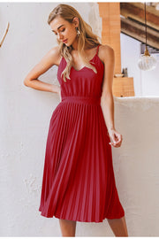 Women's Sexy V-Neck Spaghetti Strap Pleated Party Dress