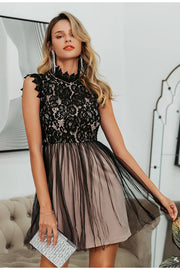Women's Sexy Sleeveless Lace Embroidery Floral Party Dress