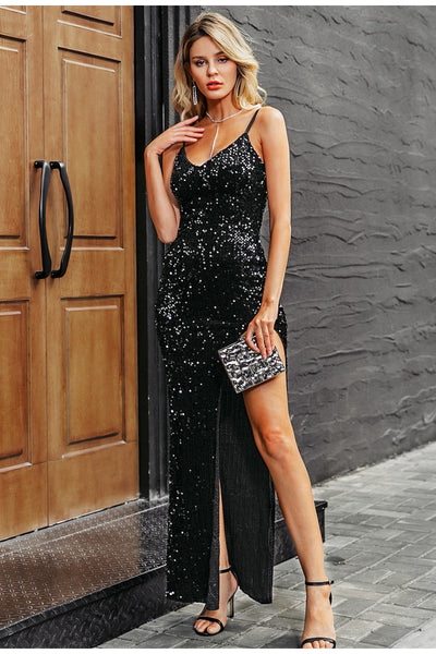 Sexy V-Neck Sequined Spaghetti Strap Long Evening Dress For Women