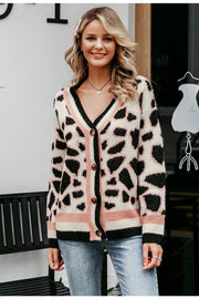 V-Neck Vintage Leopard Print Knitted Cardigan Sweater for Outwear