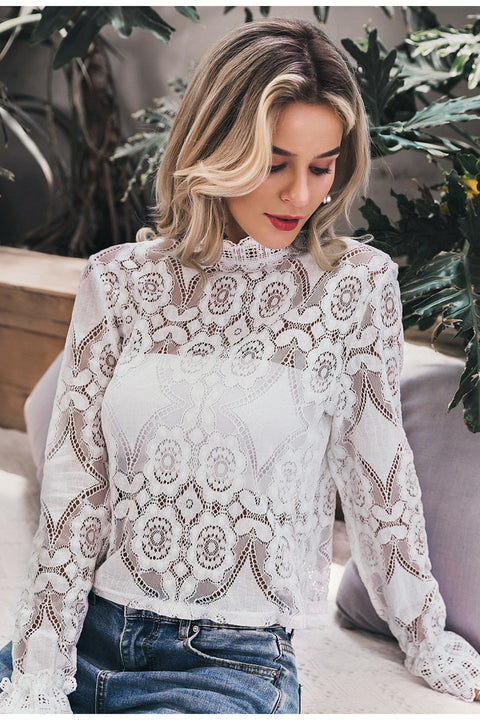Sexy Lace Hollow Out Embroidery Feminine Blouse With Lantern Sleeves