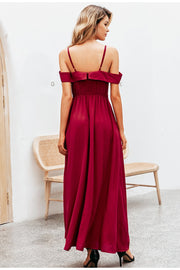 Sexy Elegant V-Neck Off Shoulder Maxi Dress High Waist Party Dress