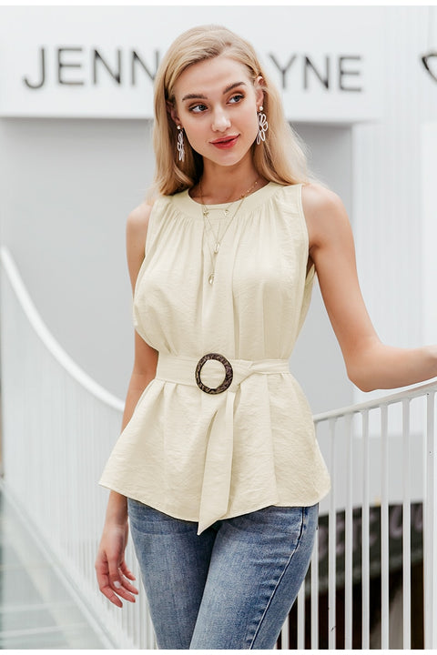 Women's Elegant Solid Sleeveless High Waist Office Lady Tank Top