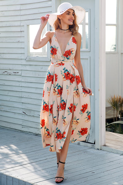 Sexy V Neck Backless High Waist Short Split Wide Leg Jumpsuit