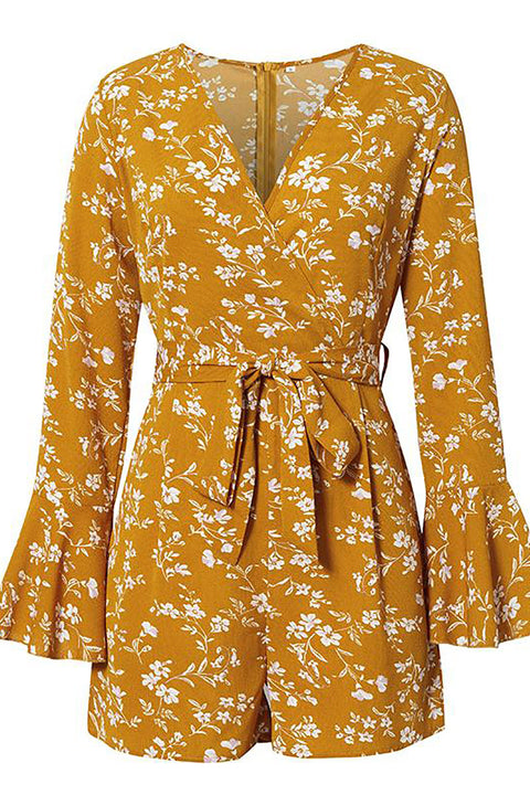 V Neck Floral Print Romper Ruffles Sash Belt Holiday Jumpsuits