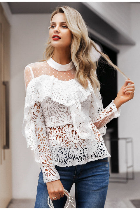 Ruffled Lace Mesh Hollow Out Long Sleeves Embroidery White Blouse