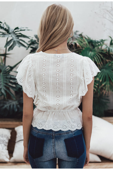 Sexy Double V-Neck Ruffle High Waist Embroidery Cotton Summer Tank Top
