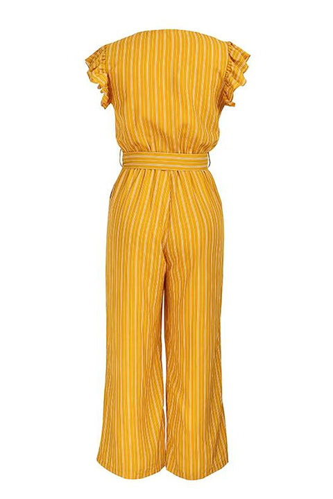 Elegant Striped Printed Jumpsuit for Women with Ruffle Sleeves