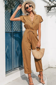 Casual High Waist Lace Up Buttons Jumpsuits for Office Ladies