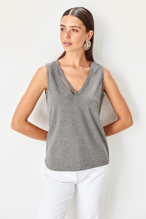 Anthracite Collar Detailed Basic Knitted Tank Tops T-shirt