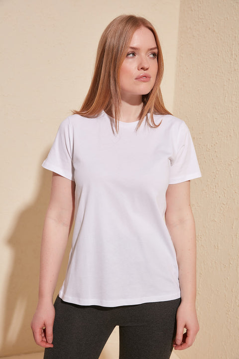 Women Cotton Single Jersey Cycling Neck Basic Knitted T-Shirts