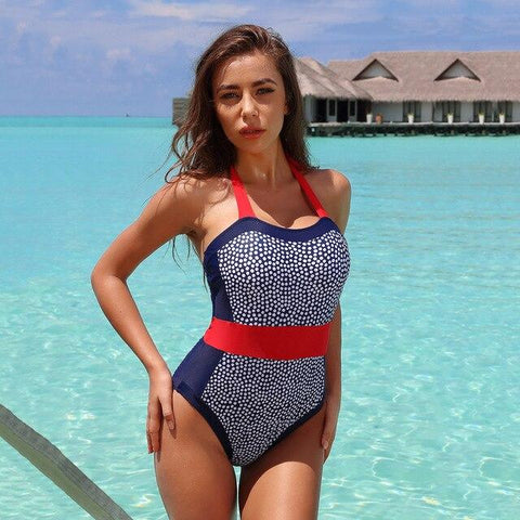 Printed One Piece Swimsuit High Waist Bikini for Women