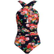 Floral Printed Bikini Plus Size Swimwear with Spaghetti Straps V-Neck