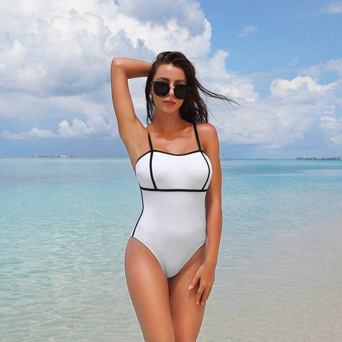 High Waist Spaghetti Straps Wire Free Pad Bathing Bikini