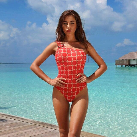 Casual One Piece One Shoulder Sleeveless Plaid Printed Swimsuit