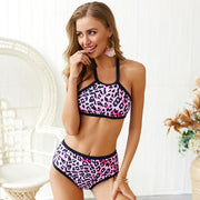 Fashion Leopard 2 Piece Summer Halter Bikini Set