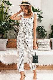 Elegant Polka Dot Ruffles Jumpsuits Sleeveless for Women