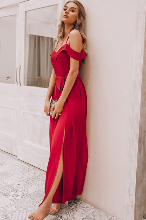 Sexy Off Shoulder Romper Elegant High Waist Red Long Jumpsuit