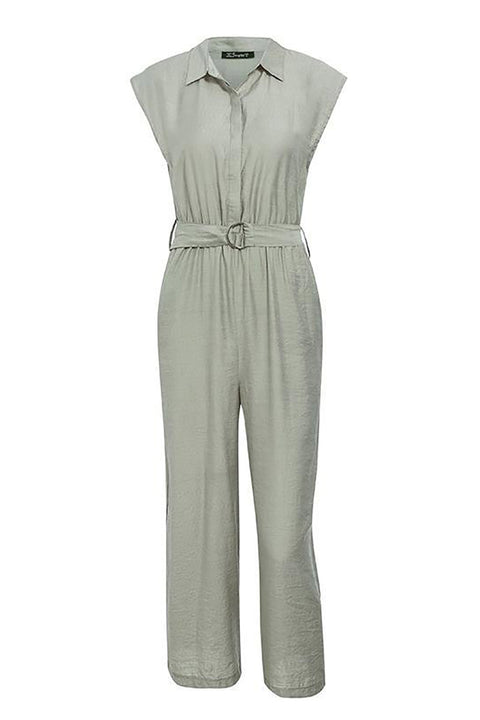 Elegant V-Neck Sash Belt Female Long Jumpsuit Streetwear