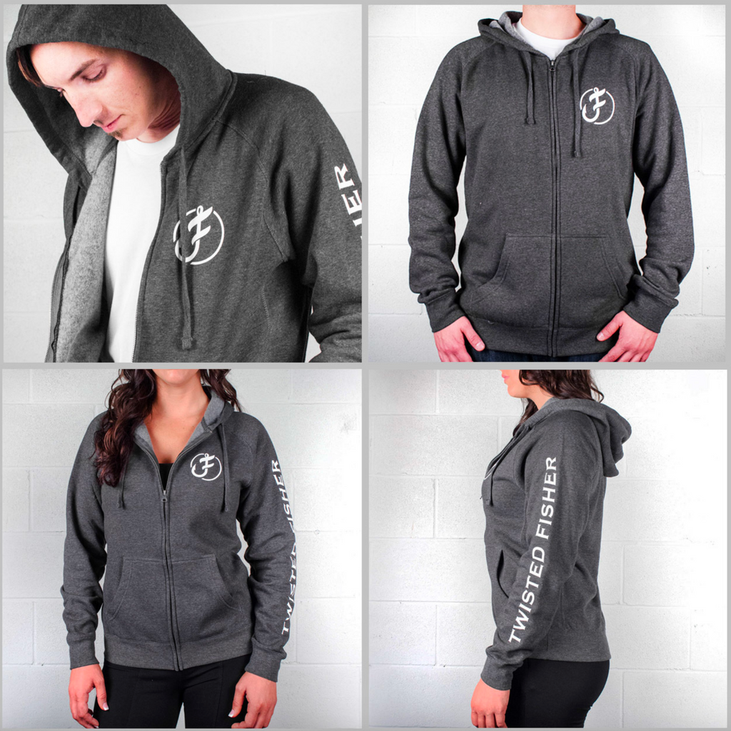 Unisex Zip Up Iconic Line Logo Hoodie - S / Charcoal - P