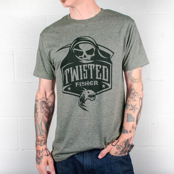 Mens Twisted Reaper Black Line Tee - S / Sage - P