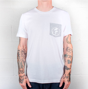Mens Iconic Line Logo Pocket Tee - S / White - P