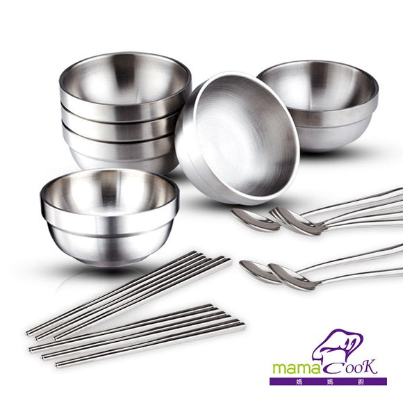 316 stainless steel tableware (bowl, spoon, chopsticks each for 6 sets) [義大利Mama Cook]食在安心頂級316全不鏽鋼筷匙18件組(6筷子+6湯匙+6碗)