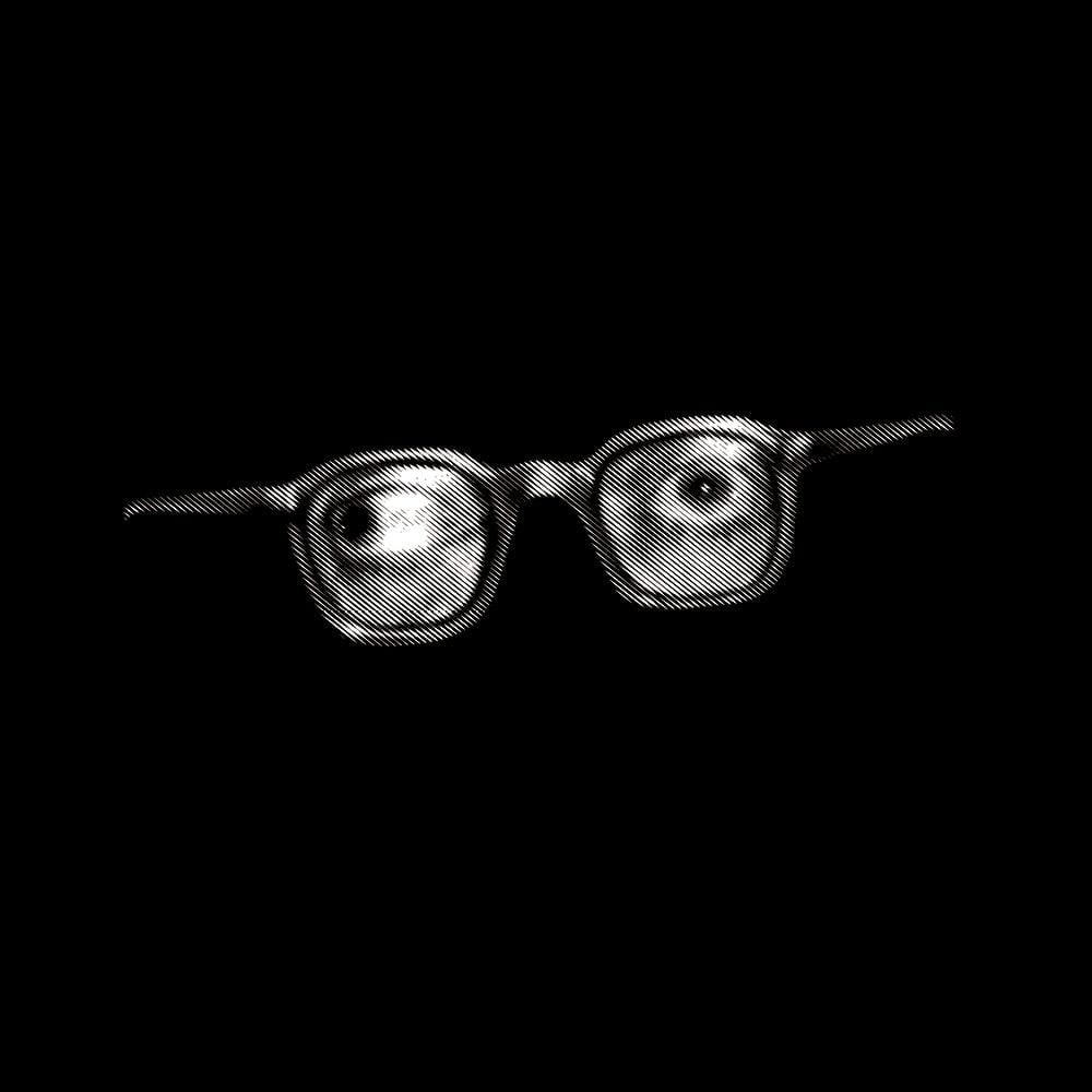 Sartre eyes with glasses