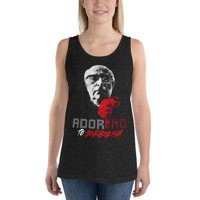 The Philosopher's Shirt Unisex Tank Top ADOR-NO To Barbarism <br><br>Unisex Tank Top