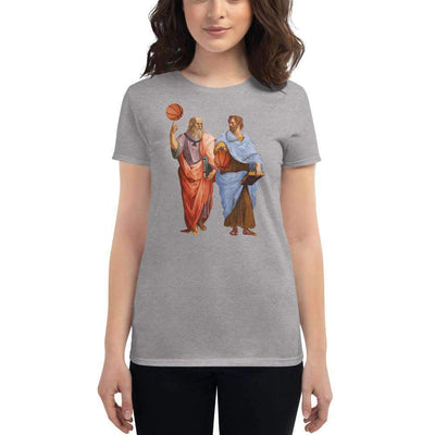 The Philosopher's Shirt Women's T-Shirt Aristotle and Plato with Basketballs