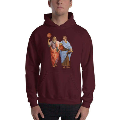 The Philosopher's Shirt Hoodie Aristotle and Plato with Basketballs