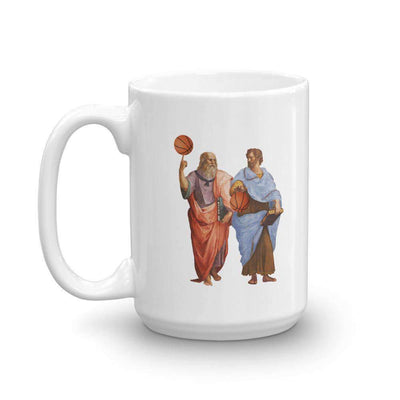 The Philosopher's Shirt Mug Aristotle and Plato with Basketballs