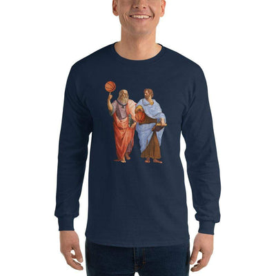 The Philosopher's Shirt Long-Sleeve Tee Aristotle and Plato with Basketballs <br><br>Long-Sleeved Shirt