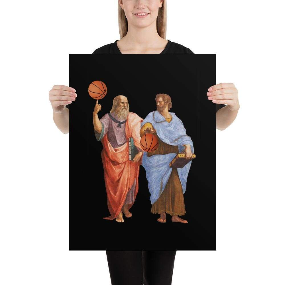 The Philosopher's Shirt Poster Aristotle and Plato with Basketballs <br><br>Poster