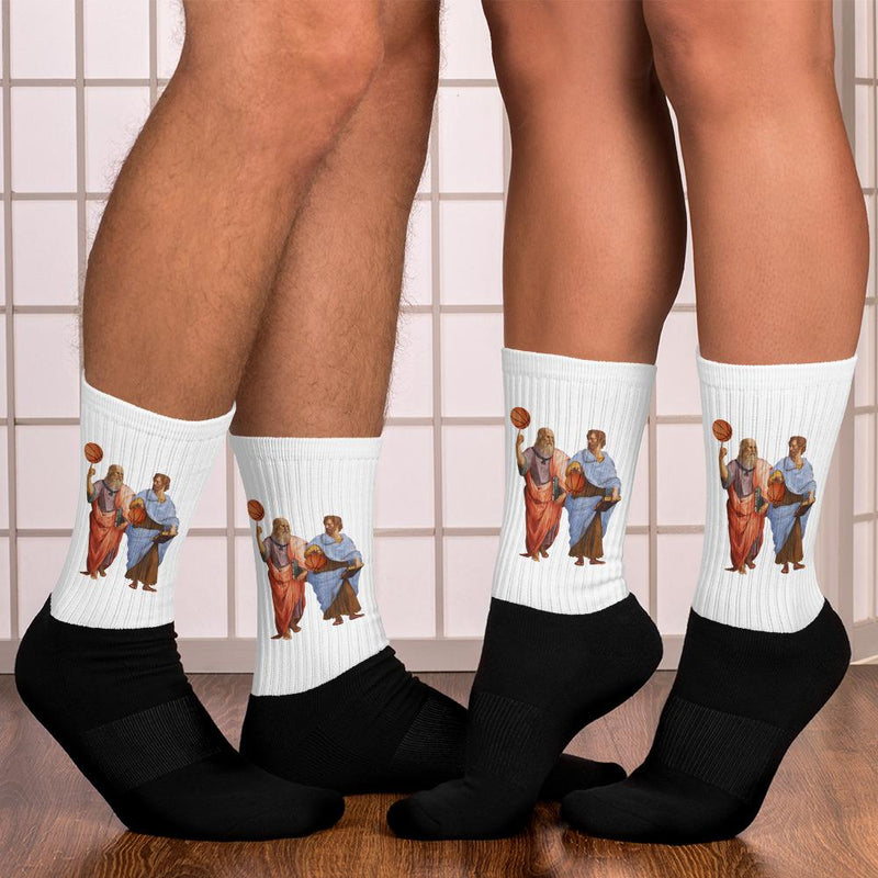 The Philosopher's Shirt Aristotle and Plato with Basketballs <br><br>Socks