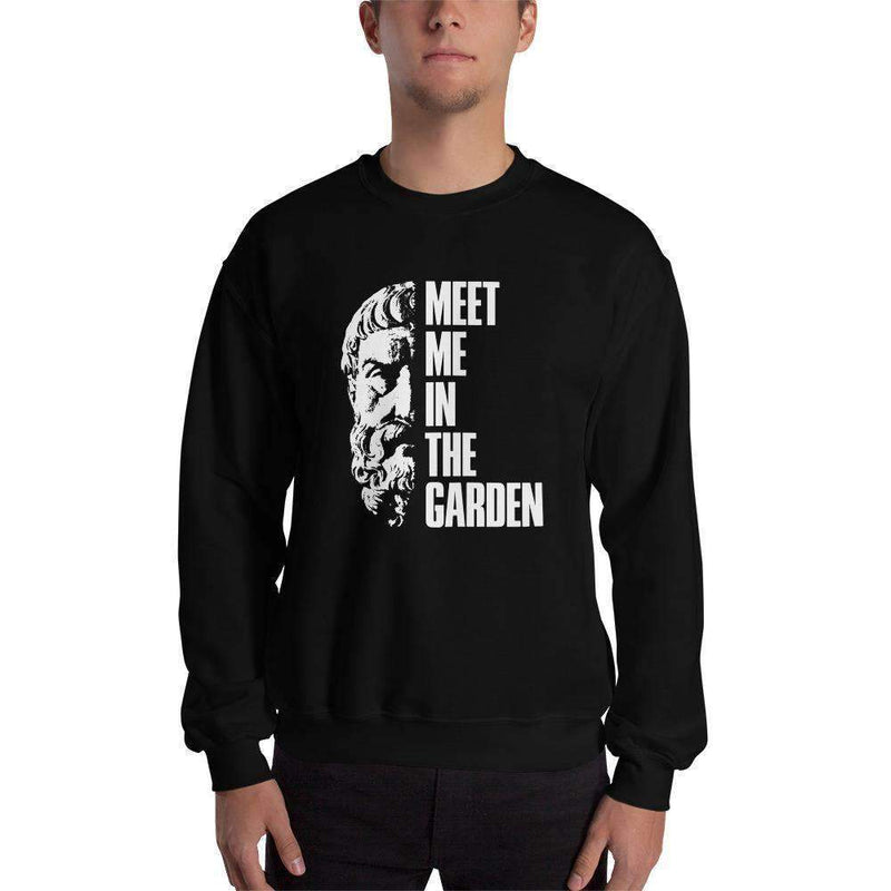The Philosopher's Shirt Discounted - Sweatshirt Epicurus - Meet Me In The Garden <br><br> Sweatshirt Black / S - Discounted